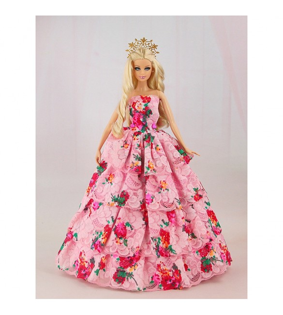 """Платье для куклы Барби """"Цветочная поляна"""""""